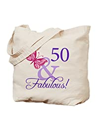 CafePress - 50 And Fabulous Birthday Gifts - Natural Canvas Tote Bag, Cloth Shopping Bag