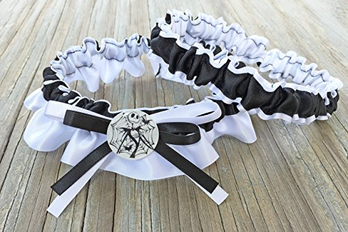 SEXY Jack Skull Character Inspired White & Black Bridal Satin Wedding Garter ()
