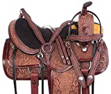 AceRugs Ranch Saddle Western Hand Carved Antique Oil Premium Leather Pleasure Trail Comfy SEAT Horse TACK Package (Antique Mahogany, 18)