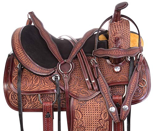 AceRugs Ranch Saddle Western Hand Carved Antique Oil Premium Leather Pleasure Trail Comfy SEAT Horse TACK Package (Antique Mahogany, 15)