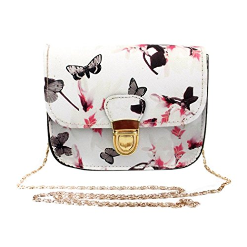 Clearance Handbag,Han Shi Women Butterfly Flower Printing Shoulder Bag Tote (M, White)