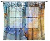 Abstract art sheer drapes, set with two 50''x84'' panels in dark orange, blue and aqua, Bridge