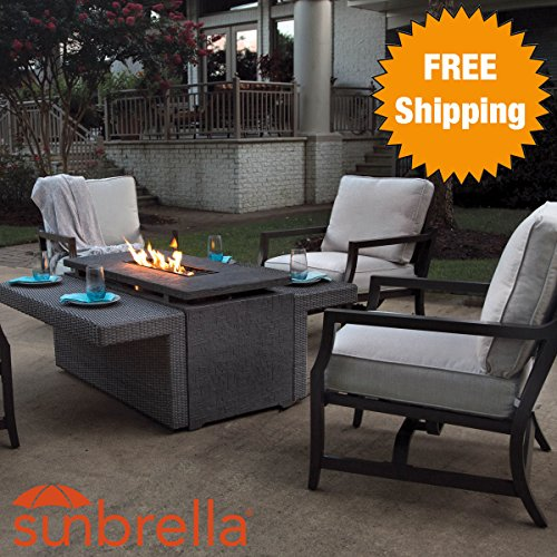 5 Piece Outdoor Patio Furniture Firepit Set (4 Chairs U0026 1 Marietta Gas Firepit  Table)   Weather Resistant Sunbrella Fabric   Rust Free Aluminum Frames ...