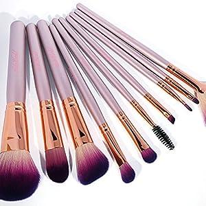 Halo World 10 Piece Makeup Brush Set Eye Face Foundation Blush Brush with Flower Pattern PU Case (Rose Gold)