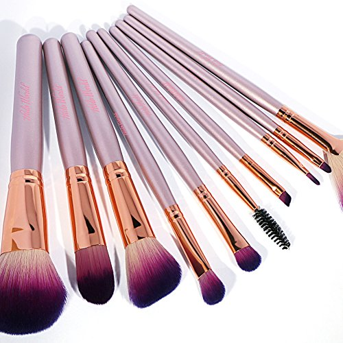 Halo World 10 Pieces Makeup Brushes Vegan and Cruelty Free Foundation Eyeshadow Lip Makeup Brush Set with Leather Bag (Rose Gold)