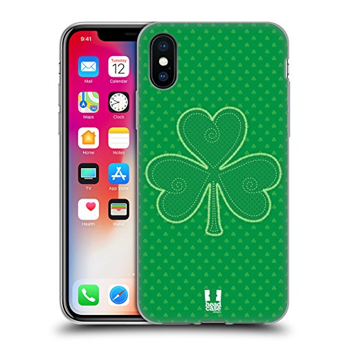 Head Case Designs Applique Shamrock Patterns Soft Gel Case for iPhone X/iPhone Xs