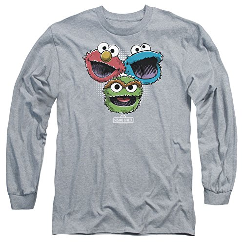 Eat one's heart out Sleeve: Sesame Street- Three Lively Monsters Longsleeve Shirt Size XL
