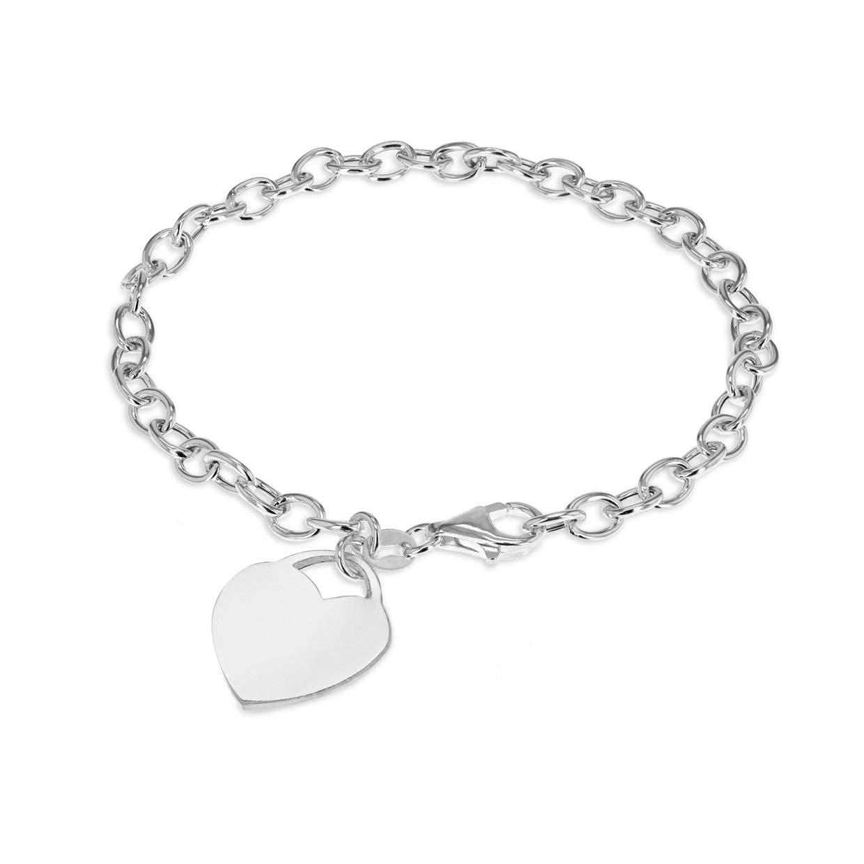 Sterling Silver 19mm Heart Charm Belcher Bracelet