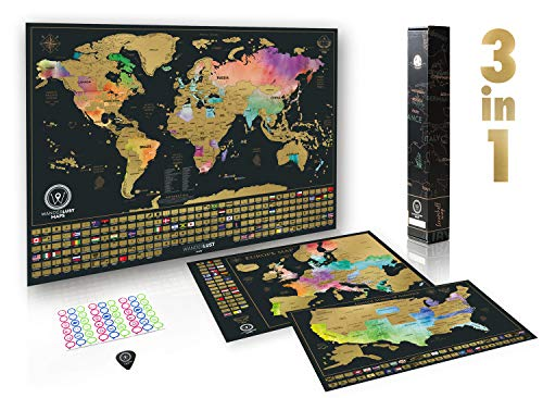 Scratch Off Maps Gift Set (World, USA, and Europe) | 3 Premium Watercolor Scratch Off Maps | Personalized Travel Tracker Posters with Flags and Beautiful Watercolors | Manufactured in The EU