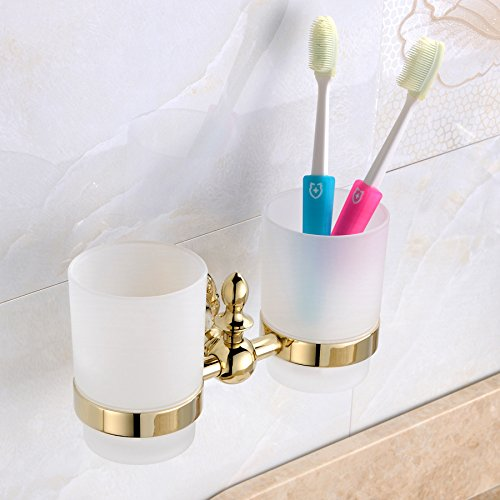 Leyden Wall Mount Bathroom Golden Ti-PVD Finish Brass Material Double Tumbler Toothbrush - Holder Mount Tumbler Wall