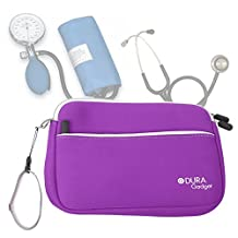 DURAGADGET Purple Neoprene Carry Case for Storing Medical Equipment (Stethoscope / Sphygmomanometer) - with Front Storage Compartment and Wrist Strap