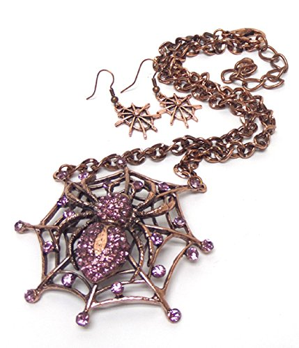 Spider On Web Set BS Antique Copper Tone Necklace Earrings Pink Crystal