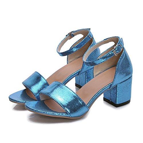 AllhqFashion Womens Kitten-Heels Patent Leather Solid Buckle Open Toe Sandals Blue m22hdvtg4