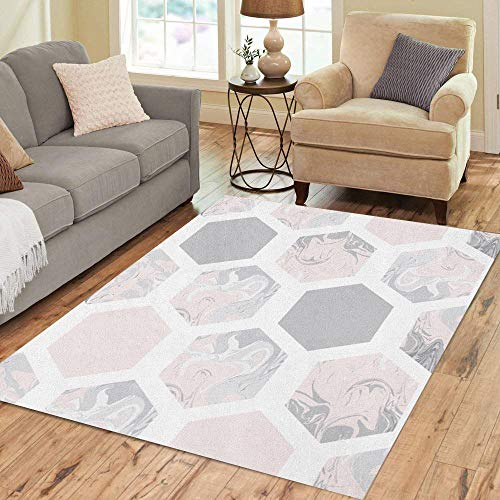 Semtomn Area Rug 2' X 3' Pink Pattern Marble Hexagons Geometry Honeycomb Ink Mosaic Abstract Home Decor Collection Floor Rugs Carpet for Living Room Bedroom Dining Room