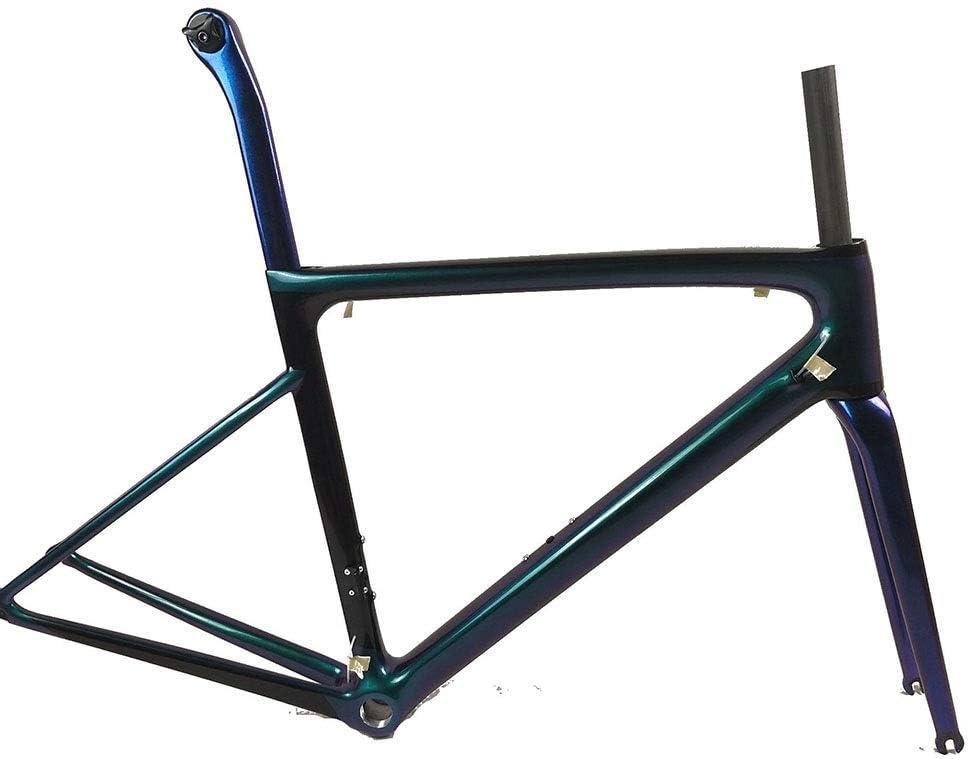 AXROAD MALL 自転車フレームカーボンファイバーフレーム炭素繊維複合カーボンファイバー自転車アクセサリー、フロントフォークで自転車フレーム (色 : ブラック, サイズ : ワンサイズ) ブラック ワンサイズ