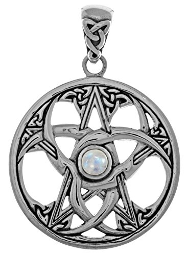 Jewelry Trends Sterling Silver Celtic Crescent Moon and Pentacle Star Pendant with Moonstone (Moon Pentacle Celtic Pendant)