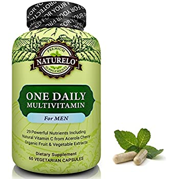 NATURELO One Daily Multivitamin for Men - with Whole Food Vitamins & Organic Extracts - Natural Supplement - Best for Energy, General Health - Non-GMO - 60 Capsules   2 Month Supply