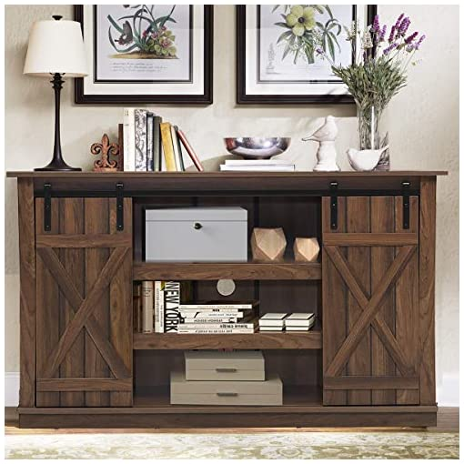 Farmhouse Living Room Furniture Tangkula TV Stand up to 60 Inches, Farmhouse Wood TV Stand with Sliding Barn Doors, Side Sliding Door & Height… farmhouse tv stands