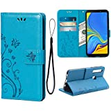 Wallet Case for Samsung Galaxy A9(2018), 3 Card Holder Embossed Butterfly Flower PU Leather Magnetic Flip Cover for Samsung Galaxy A9(2018)(Blue)