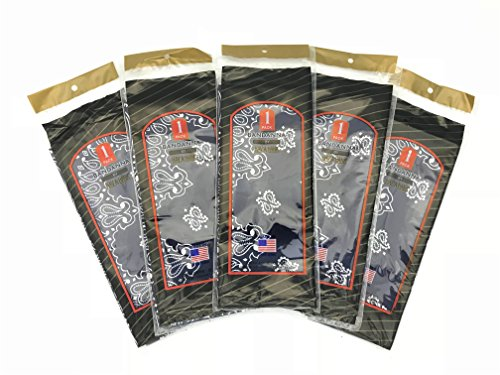HAV-A-HANK Genuine MADE IN USA Bandanna Handkerchief 22 in Extra Large Bandana [5 Pack] (Navy)