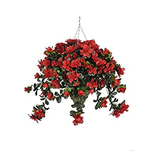 House of Silk Flowers Artificial Red Azalea in Cone Hanging Basket 29