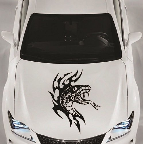 - Vehicle Auto Car Décor Vinyl Decal Art Sticker Flaming Snake Viper Tribal Predator Removable Design for Hood 1076