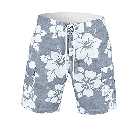 US Apparel Men's Beach Patrol Hibiscus Swim Trunks, Grey, M - Beach Apparel