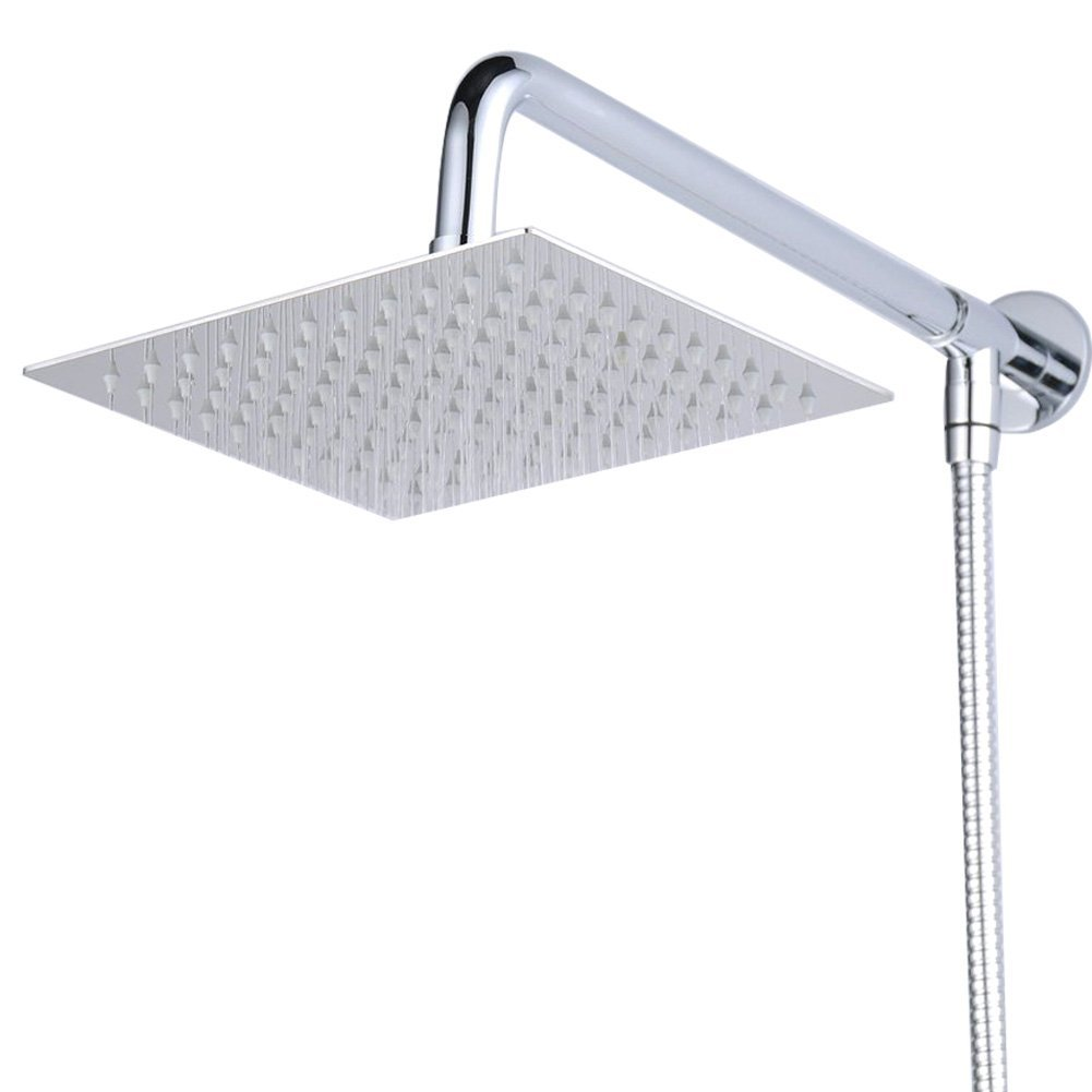 Hiendure® 30 centimetri Soffione doccia Con braccio doccia Doccia Tubo Acciaio inossidabile Cromo Home Built