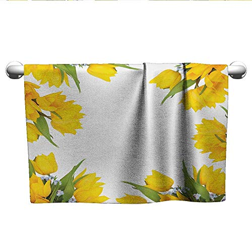 alisoso Yellow Flower,Kids Bath Towels Abstract Frame Yellow Tulip and Blue Forget Me Knot Blooms Bouquets Machine Washable Mustard Fern Green W 24