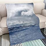 BEICICI Customized Comfortable 100% Soft Premium Blanket Dramatic Cloudy Sky Over Dark Water Ripple Surface sea Sunlight Fashion Ultra Cozy Flannel Blanket