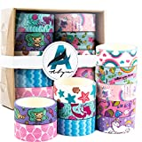 Washi Tape Set of 10 Assorted Cute Unicorn and Mermaid Design - Thin Decorative Japanese Paper Tape for Arts and Crafts Ideal for Stationary, Journal, Planner, Scrapbook, DIY, Organizing Office Supply
