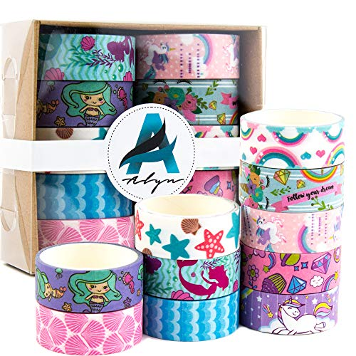 Washi Tape Set of 10 Assorted Cute Unicorn and Mermaid Design - Thin Decorative Japanese Paper Tape for Arts and Crafts Ideal for Stationary, Journal, Planner, Scrapbook, DIY, Organizing Office Supply by ALYN