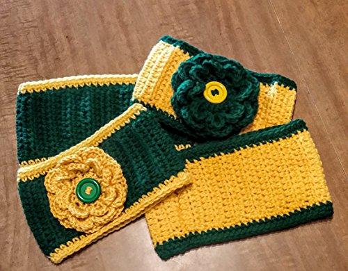 Hand Crocheted Headband Ear Warmer, flower or plain, green and gold (Green Bay, Oregon, North Dakota State, Alaska, - Alaska Tailgate