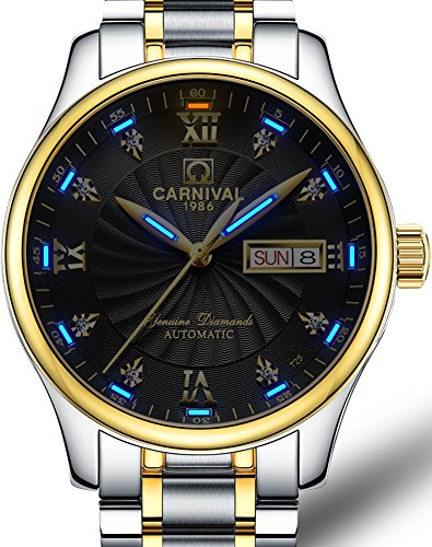 Mens-MIYOTA-21-Jewels-Automatic-Movement-Blue-Tritium-Light-Transparent-Cover-Gold-Watches-Black