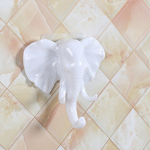 Lovely Elephant Self Adhesive Wall Hook,Crytech Utility Decorative Animal Shaped Sticky Door Hanger Wall Mount Suction Cup Sucker for Kitchen Bathroom Robe Towel Coat Key Holder Hanging (White)