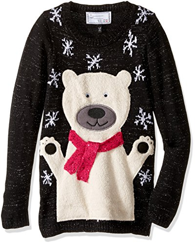 Girls' Bear with Snowflakes, Black