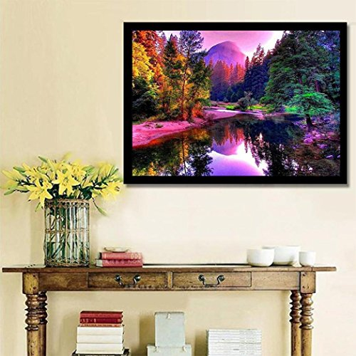 PHOTNO Diamond Paintings Wall Stickers,Landscape 5D Embroidery Paintings 3040cm Rhinestone Pasted DIY Painting Cross Stitch Decorating Arts Canvas (Multicolor)