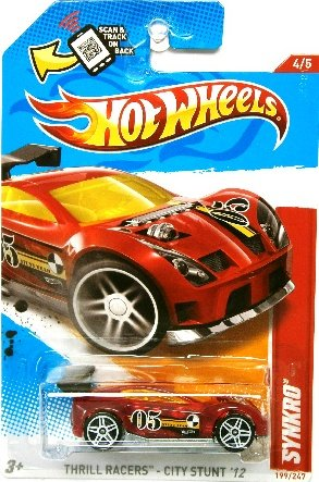 (Hot Wheels 2012 Thrill Racers - City Stunt '12 4/5 Synkro 199/247 Red with Yellow Tinted Windows Scan & Track)