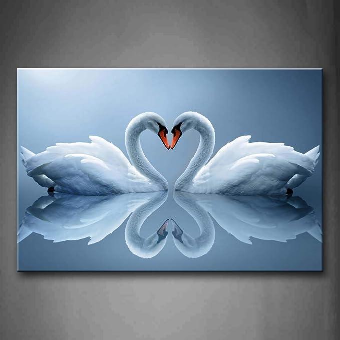 NIMCG Arte de la Pared Imagen Cisnes Corazón Agua Impresión ...