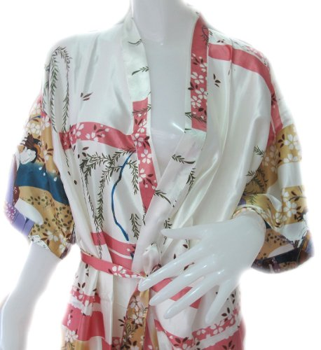 ClickThai-Beautiful-Thai-Silk-Robe-Japanese-Geisha-Design-Pure-Ivory-Color