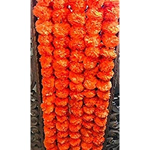 Nexxa Pack of 5 Artificial Dark Orange Marigold Flower Garlands 5 ft Long- for use in Parties, Celebrations, Indian Weddings, Indian Themed Event, Decorations, House Warming