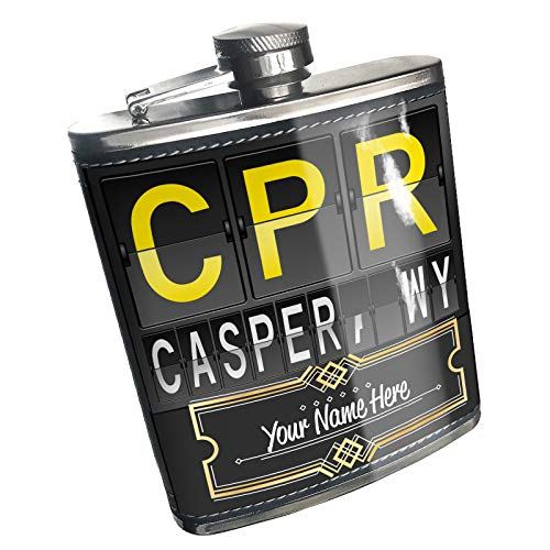 Neonblond Flask CPR Airport Code for Casper, WY Custom Name Stainless Steel