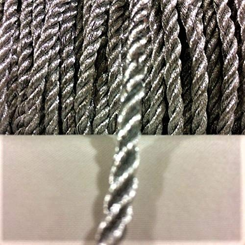 4 mm Metallic Silver twist cord, braided cord Shiny Cord Choker Thread Twine String Rope Piping Supplies Price per 6 yards