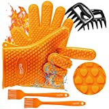 Housmile Cooking Gloves Soft Silicone Kitchen Gloves, 2 Grill Gloves and 2 BBQ Meat Shredders Claws, 2 Grill Silicone Brush for Kitchen