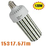 347V LED Corn Cob Bulb 120W, 6000K E39 Mogul Base Corn LED Bulbs 480V Replace 400W Metal Halide Shoebox Parking Lot Retrofit AC200-500V Input