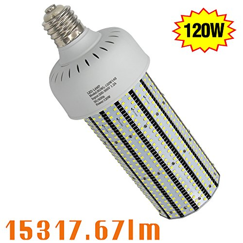 347V LED Corn Cob Bulb 120W, 6000K E39 Mogul Base Corn LED Bulbs 480V Replace 400W Metal Halide Shoebox Parking Lot Retrofit AC300-500V Input by NGTlight