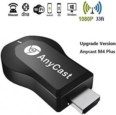 WIFI Display Dongle, Anycast M4 Plus 1080P dongle Inalámbrico Stick de TV adaptador AV Digital a HDMI Connector Wifi Pantalla Dongle para iOS / Android / Windows / MAC OSX / Proyector,