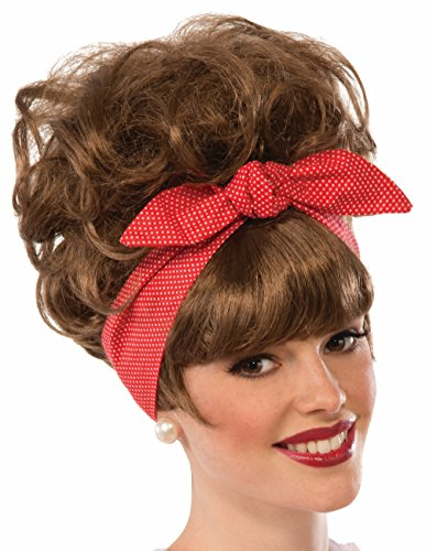 [Womens Brown 50's Diner Waitress Dottie Jean Wig Costume Accessory] (50s Wig)