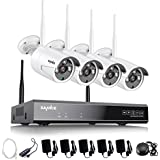 SANNCE 4CH 720P HD NVR Wireless Security CCTV Surveillance Systems(WIFI NVR Kits)-4 Pack 1.0MP Wireless WIFI Indoor Outdoor IP Cameras,P2P,100FT Night Vision, NO HDD, Email Alert
