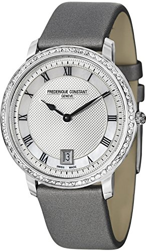 - Frederique Constant Slim Line Silver Guilloche Dial Grey Satin Ladies Watch FC-220M4SD36